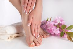 Female Legs With Bare Feet And Hands With French Manicure And Pedicure On White Towel In Spa Salon And Decorative Pink Flower Royalty Free Stock Photography