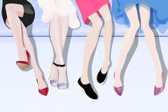 Female legs. Women sitting on the sofa with long legs in fashionable shoes vector illustration