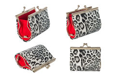 Female leopard purse isolated on white background Royalty Free Stock Photo