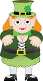 Female leprechaun smiling. Happy mythical female creature standing alone dressed in traditional costume Royalty Free Stock Images