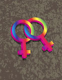 Female Lesbian Gender 3D Symbols Interlocking Illu Stock Images