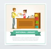 Female librarian assisting reader at service desk, education, school, study and literature concept, national library. Flat vector illustration element for royalty free illustration