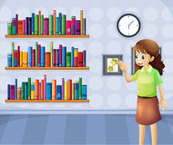 A female librarian inside the library. Illustration of a female librarian inside the library vector illustration