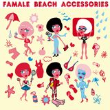 Female life icons.Woman day. Female beach accessories icons.Woman vacation vector illustration