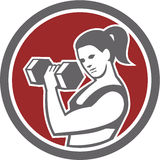 Female Lifting Dumbbell Fitness Circle Royalty Free Stock Photography