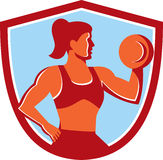 Female Lifting Dumbbell Shield Retro Royalty Free Stock Image