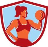 Female Lifting Dumbbell Shield Retro Royalty Free Stock Image