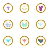 Female linen icons set, cartoon style Stock Photography