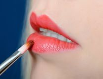 Female lips close up with lipstick Royalty Free Stock Images