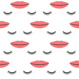 Female lips and closed eyes with long eyelashes. Seamless pattern. vector illustration