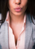 Female lips giving kiss Royalty Free Stock Images