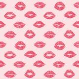 Female lips hearts seamless pattern Stock Photo