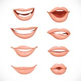 Female lips in nature colors Stock Photos