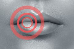 Female lips with red circles. Affected or problem area. Healthcare or beauty concept stock photo