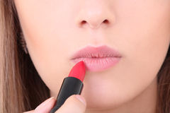 Female lips with red lipstick Stock Photos