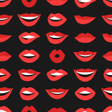Female lips seamless pattern. Mouths with red lipstick in variety of expressions. Royalty Free Stock Photography