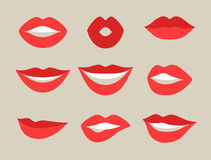 Female lips set. Mouths with red lipstick in variety of expressions. Stock Images