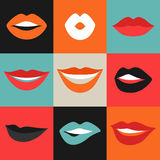 Female lips set. Mouths with red lipstick in variety of expressions. Royalty Free Stock Image