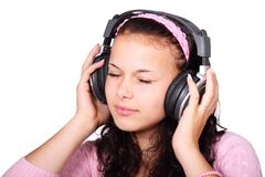 Female listening to music Stock Photos