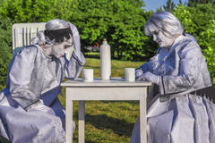Female living statues Royalty Free Stock Photography
