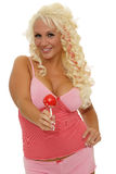 Female with lollipop Royalty Free Stock Image