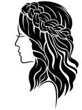 Female with long hair and classic plait Royalty Free Stock Photography