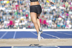 2016 female long jumper sand box Stock Images