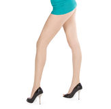 Female long legs over white Royalty Free Stock Photos