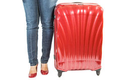 Female and Luggage Bag Stock Photos