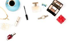 Female luxery accessories flat lay, white background. Copy space Royalty Free Stock Image
