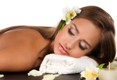Female during luxurious procedure of massage Royalty Free Stock Photo