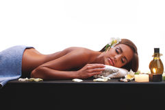 Female during luxurious procedure of massage Stock Image