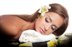 Female during luxurious procedure of massage Royalty Free Stock Image