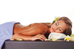 Female during luxurious procedure of massage Stock Photography