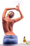 Female during luxurious procedure of massage Stock Photos