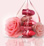 Female luxury. Broken lipstick and pink roses, with a drop of rose oil, honey for makeup on white background, template royalty free illustration