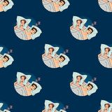 Woman covering ears while man snoring in bed at home sleep problem seamless pattern background vector. Female lying on bed and closing her ears with pillow pop Stock Images