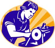 Female Machinist Seamstress Worker Sewing Machine Stock Photo