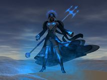 Female mage casts spell. Female mage casting a spell Royalty Free Stock Photos