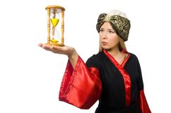 Female magician isolated on the white Royalty Free Stock Photos