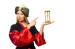 Female magician isolated on the white Royalty Free Stock Image