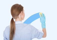 Female Maid Cleaning Glass Royalty Free Stock Photo