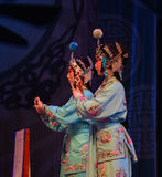 """Female maidservants- Beijing Opera"""" Women Generals of Yang Family"""". This opera tells a patriotic story how does an old woman of a hundred years old Royalty Free Stock Photo"""