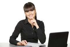 Female making calculations Royalty Free Stock Images