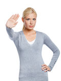 Female making stop gesture Royalty Free Stock Photos
