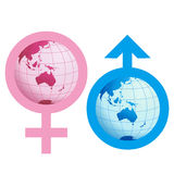 Female and male. Around the earth Royalty Free Stock Photography