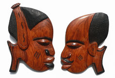 Female & Male African carvings. Female & Male African wood carvings stock photo
