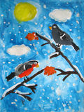 Female and male bullfinch birds - painted by child Stock Photos