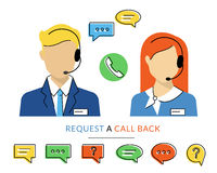 Female and male call centre operator Stock Photography