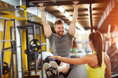 Female and male compete in endurance. On fitness training Royalty Free Stock Images